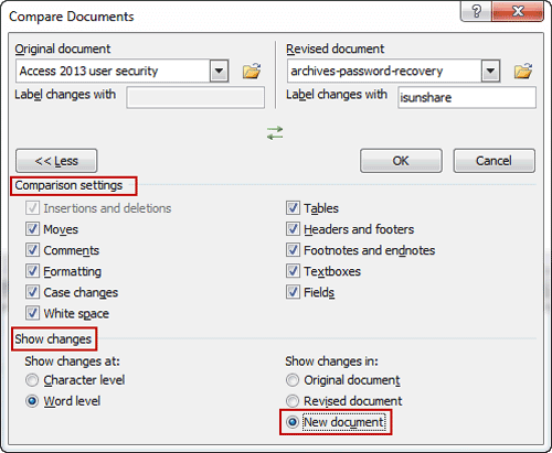 word documents comparison settings