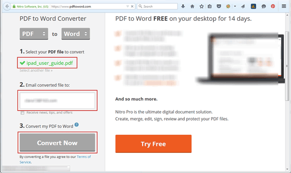 convert PDF file to word document online with Nitro Pro