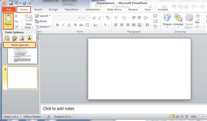 import a portion of word document into PowerPoint presentation