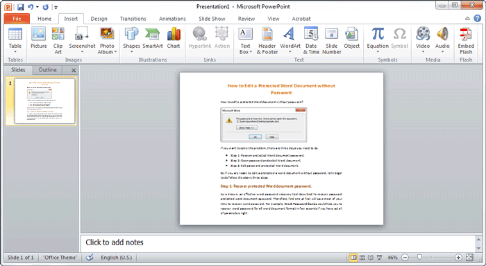 link to word document in PowerPoint presentation