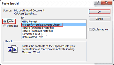 settings for importing a section of word document into presentation