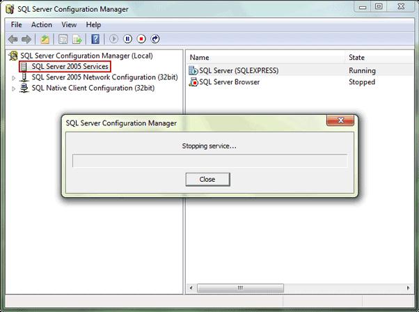 stop SQL Server 2014 services