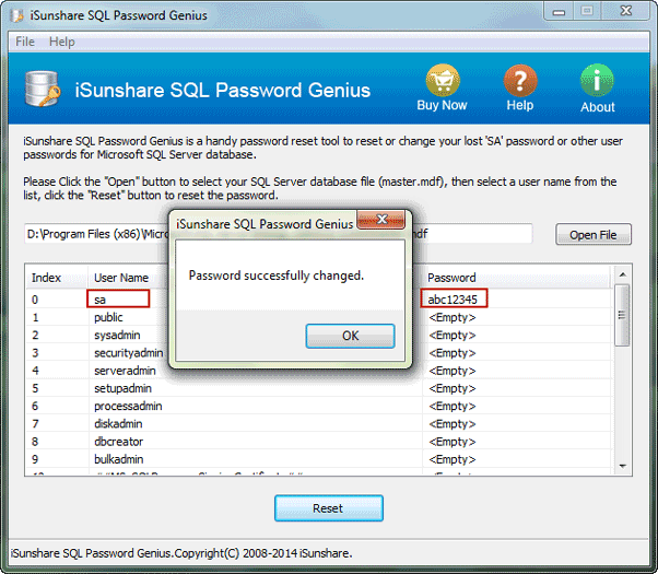 how to change the password of user in sql