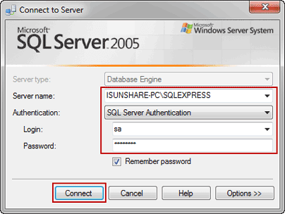 access SQL Server with SA new password
