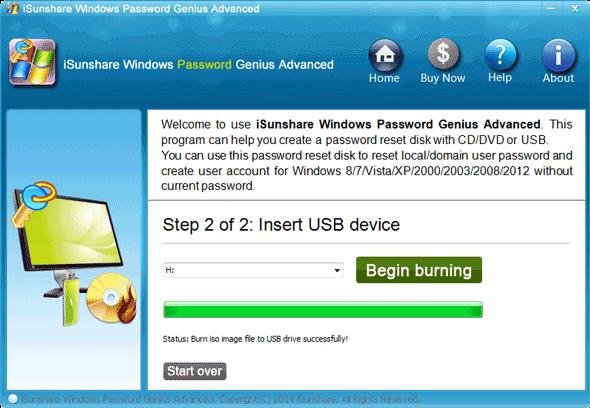 burn password reset disk for UEFI-based HP laptop