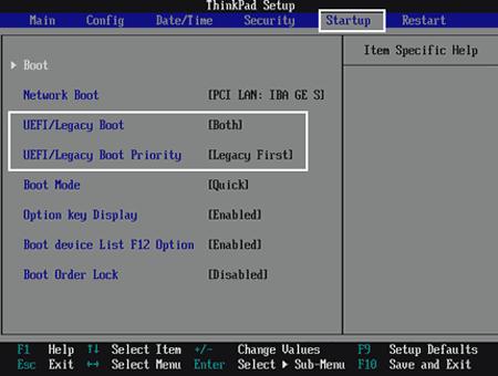 change ThinkPad Startup in UEFI BIOS