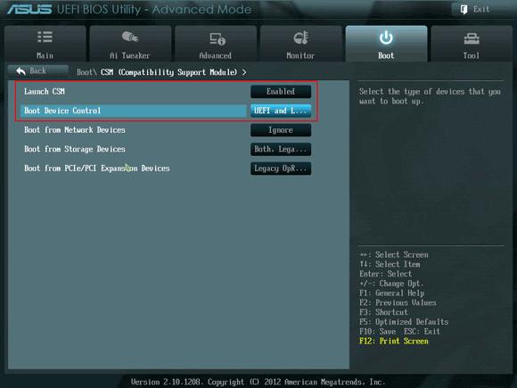 enable Launch CSM on Asus UEFI BIOS