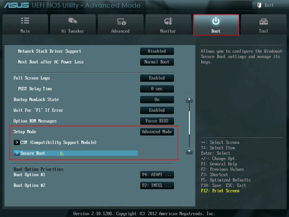 enter Asus UEFI BIOS and change setup mode