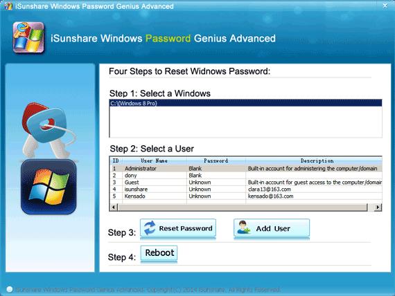 reset UEFI-based Toshiba Windows 8 lost password