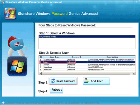 select Surface user to reset windows 8 password