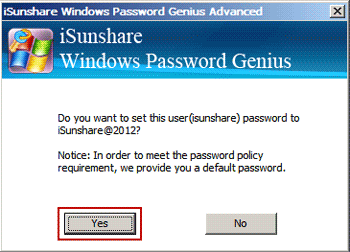 reset Microsoft account with default password