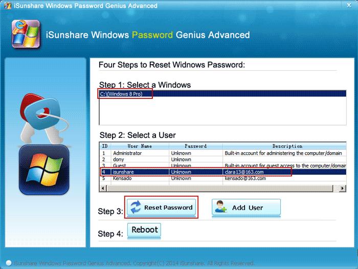 select Microsoft account in locked Windows 8