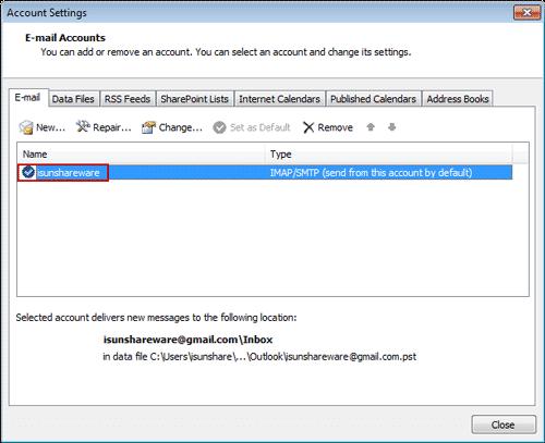 display IMAP/POP3 account new name