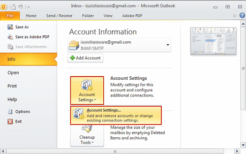 choose account settings option in outlook