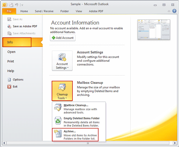 choose archive function in outlook