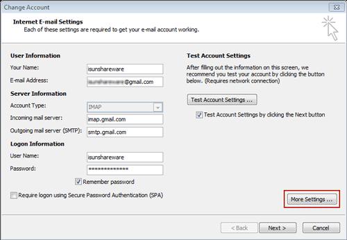 choose more settings for IMAP/POP3 account