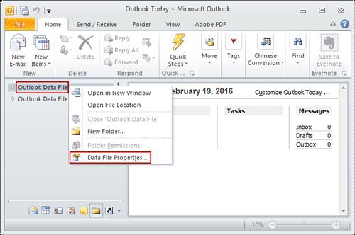 open outlook data file properties