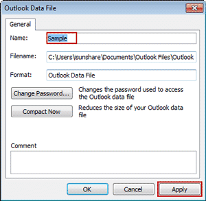 rename outlook data file to change pst display name