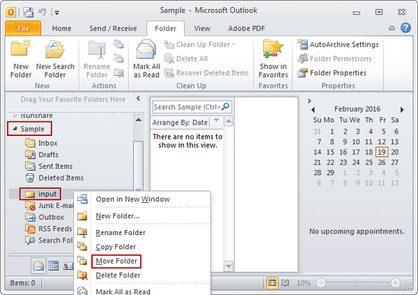 select move folder option on pst file subfolder
