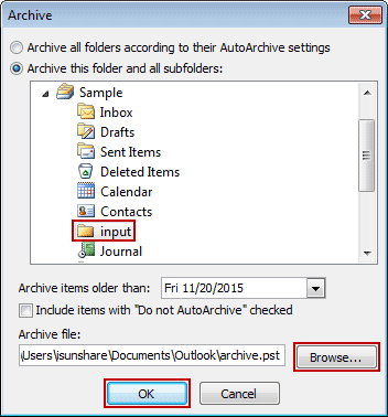 set archive parameters to split pst file