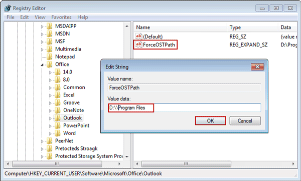 set outlook .OST file path as value data