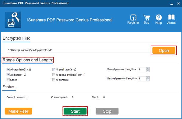 recover PDF user password with PDF Password Genius Professional