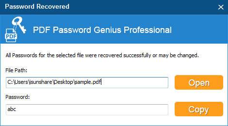 find forgotten PDF user password successfully