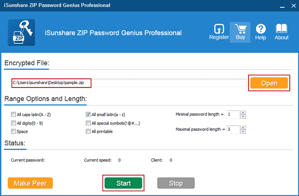 specify zip password recovery parameters