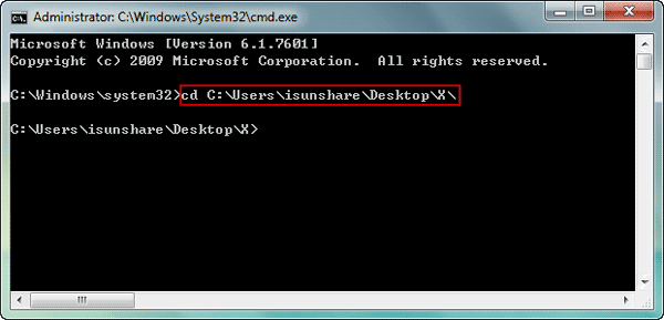 change folder directory with command