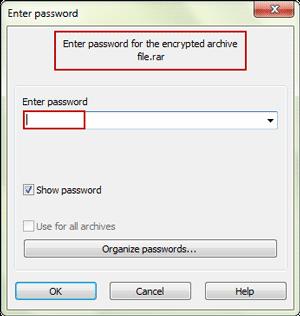 enter password to open encrypted RAR file
