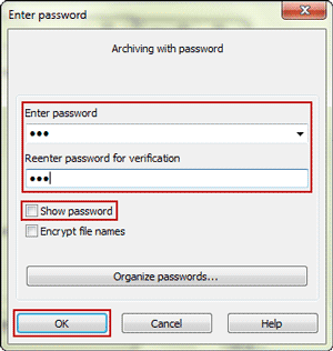 how to create a rar file with password