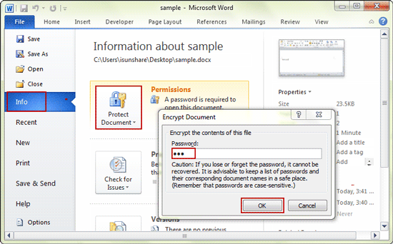 how to encrypt a word document