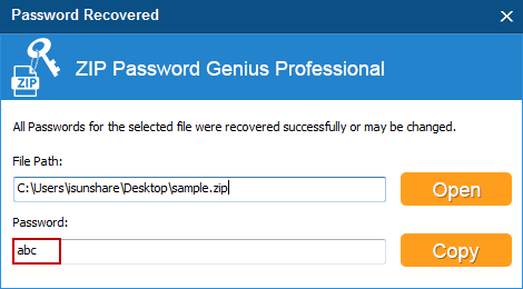 successfully recover zip password fast after forgot in LAN