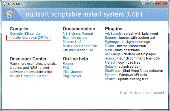 choose installer based on zip file option on nsis menu