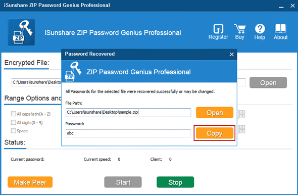 find out locked winzip file password