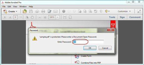 open password protected pdf file in adobe