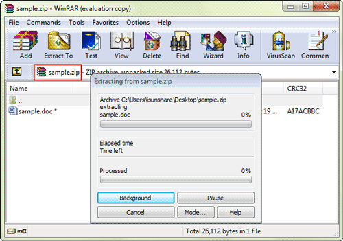 open winrar and select locked winzip file