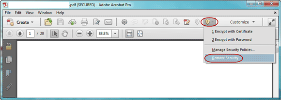 remove open password from pdf file in adobe