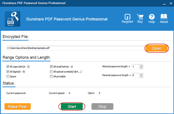 set different parameters for pdf password recovery