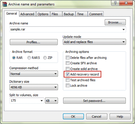 choose to repair multipart archive in WinRAR