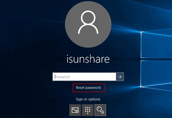 choose reset password on dell xps 8900 logon screen