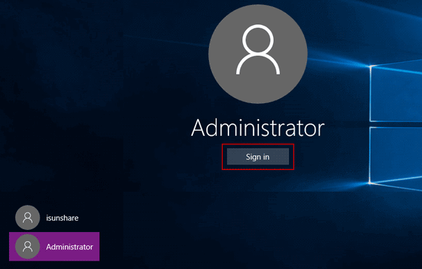sign in dell xps 8900 with built-in administrator