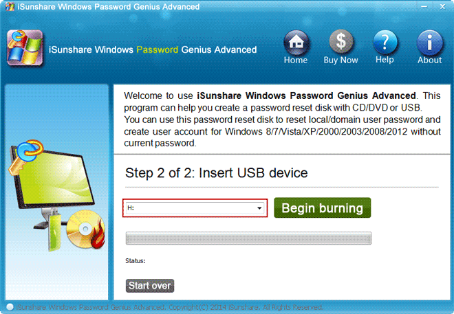 burn samsung notebook password reset disk
