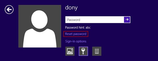 forgotten password windows 8 tablet