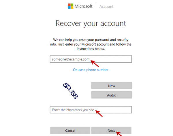 confirm Microsoft account password forgot in Lenovo laptop