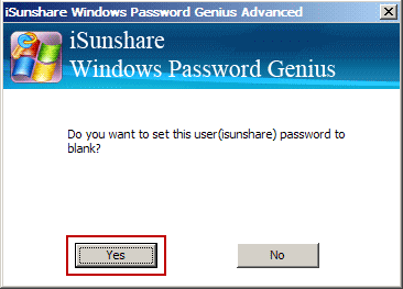confirm windows password reset with iSunshare program