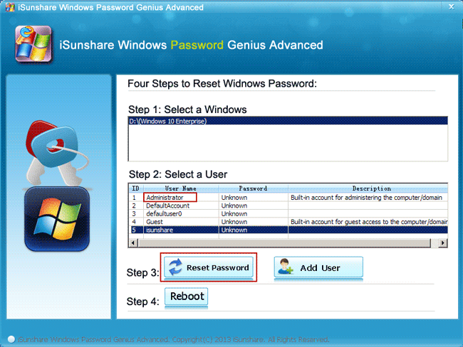 reset built-in administrator forgotten password with isunshare program