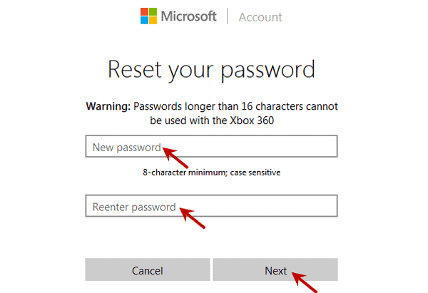 reset Microsoft account password to unlock Lenovo laptop