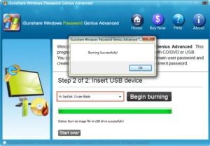 burn iSunshare program into USB successfully