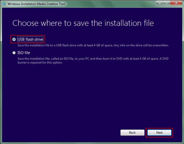 choose USB to create windows 8 installation media